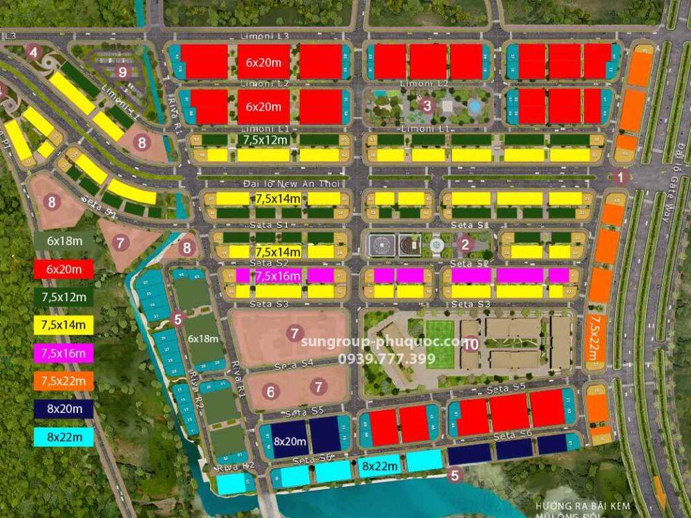 mặt bằng diện tích dự án Sun Grand City New An Thới