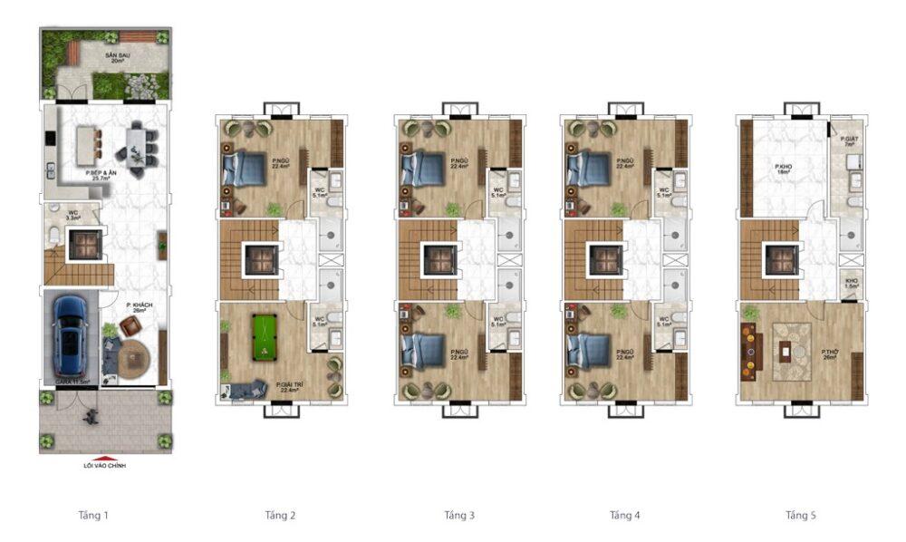 Gợi ý thiết kế nhà phố 120m2 (6x20m) Sun Grand City New An Thới 1