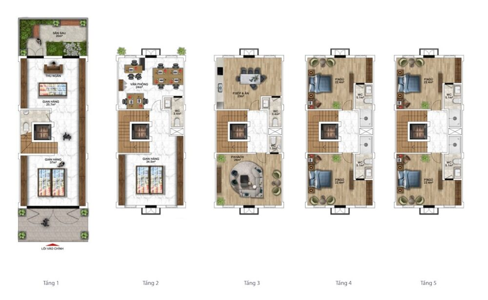 Gợi ý thiết kế nhà phố 120m2 (6x20m) Sun Grand City New An Thới 3