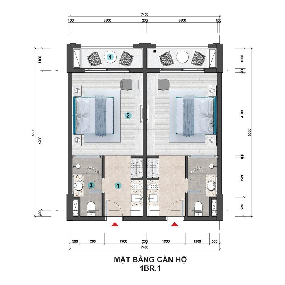 layout 1 phòng ngủ 1 hillside