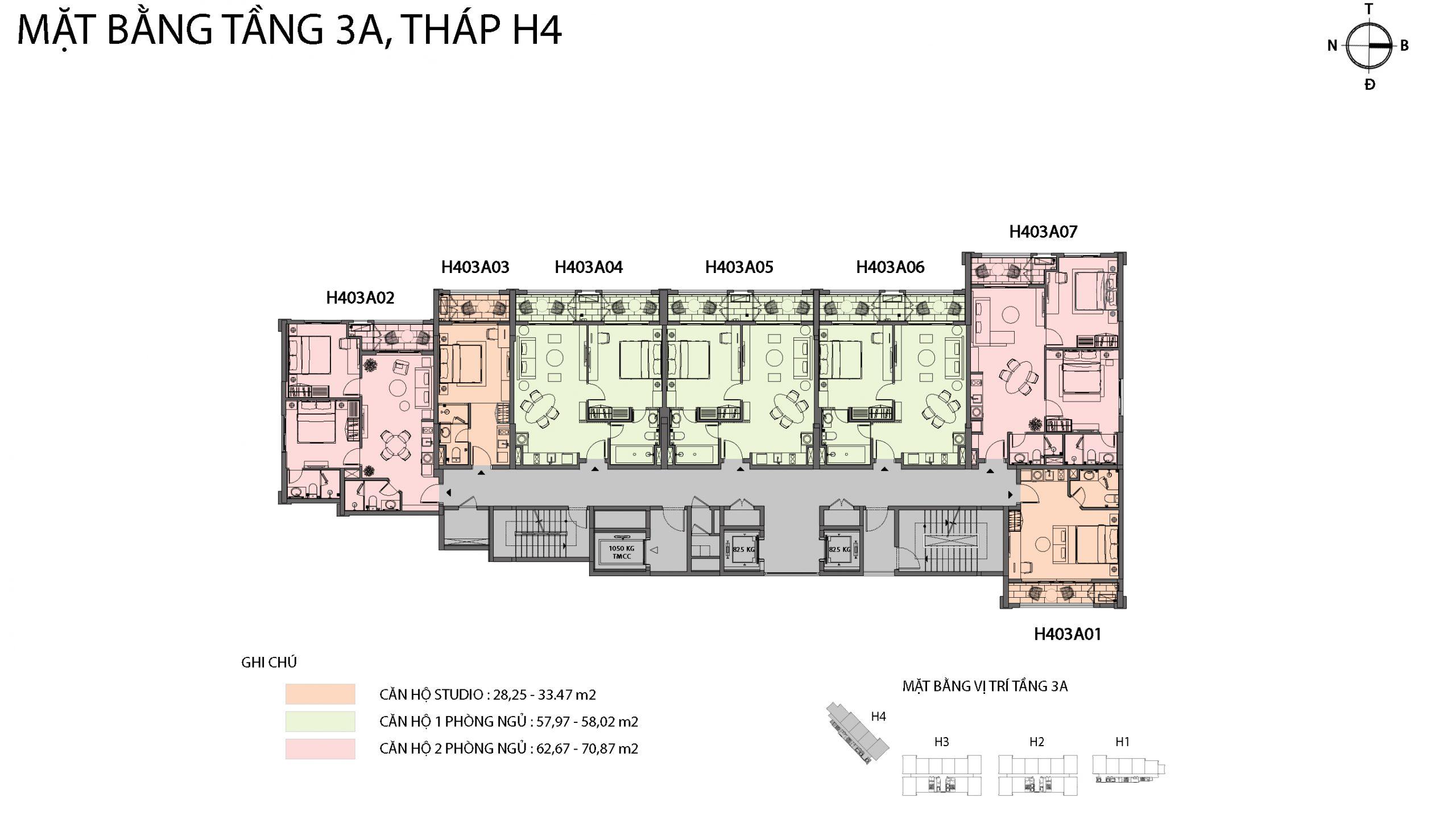 Mặt bằng chi tiết tòa căn hộ H4 - Sun Grand City Hillside Residence 2