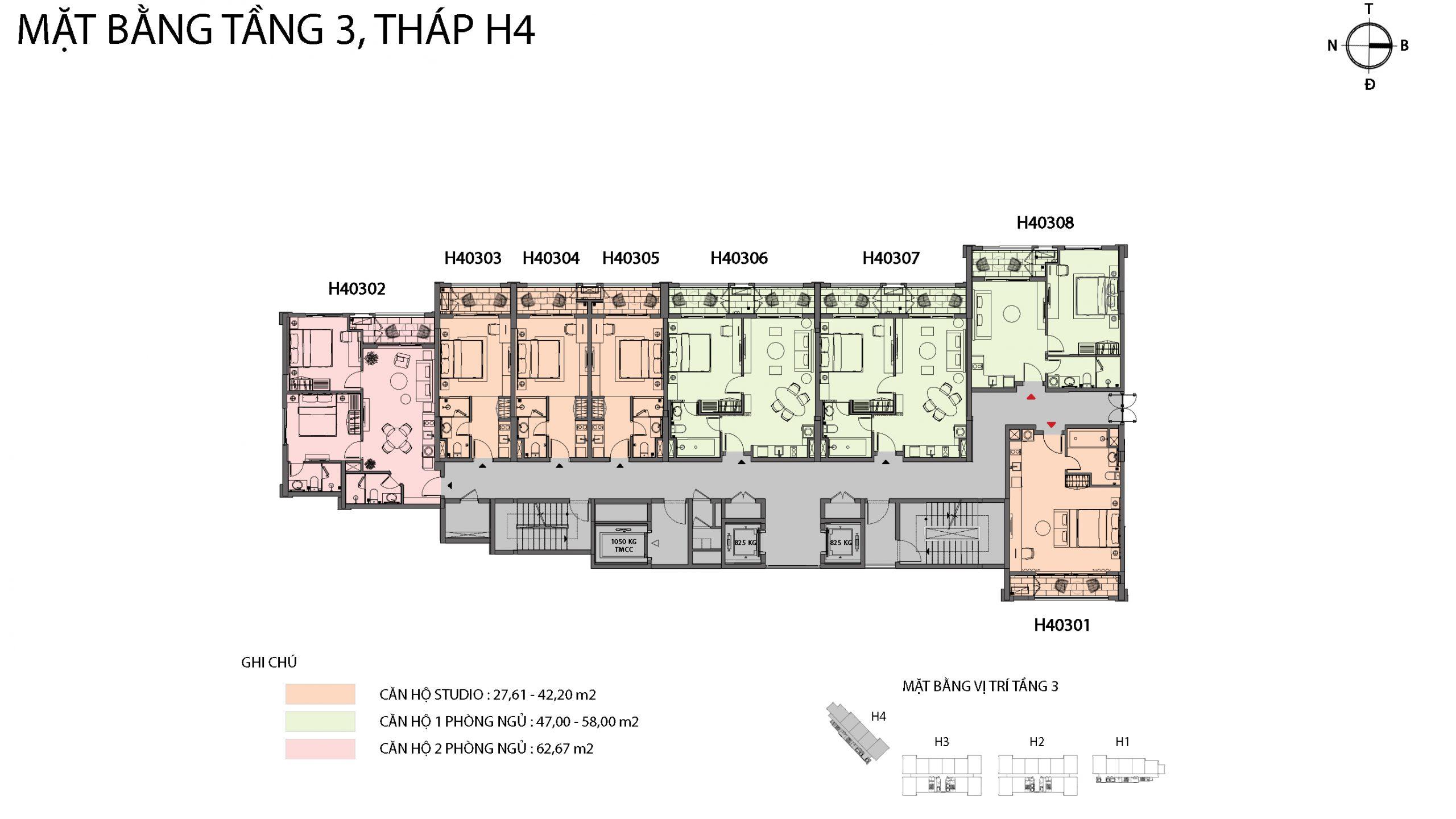 Mặt bằng chi tiết tòa căn hộ H4 - Sun Grand City Hillside Residence 1