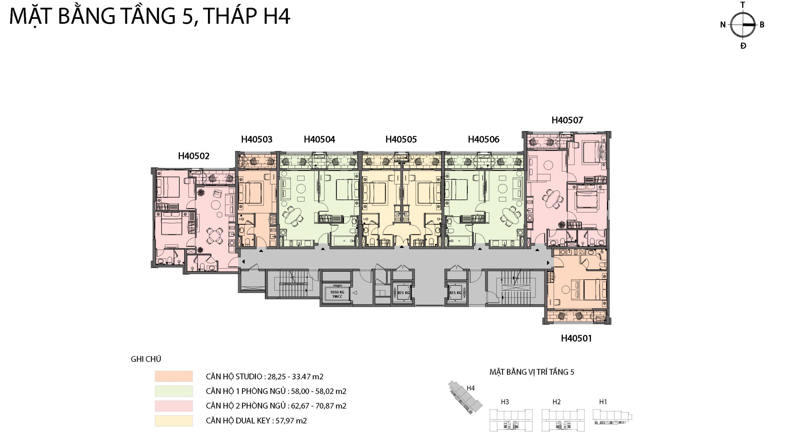 Mặt bằng chi tiết tòa căn hộ H4 - Sun Grand City Hillside Residence 3