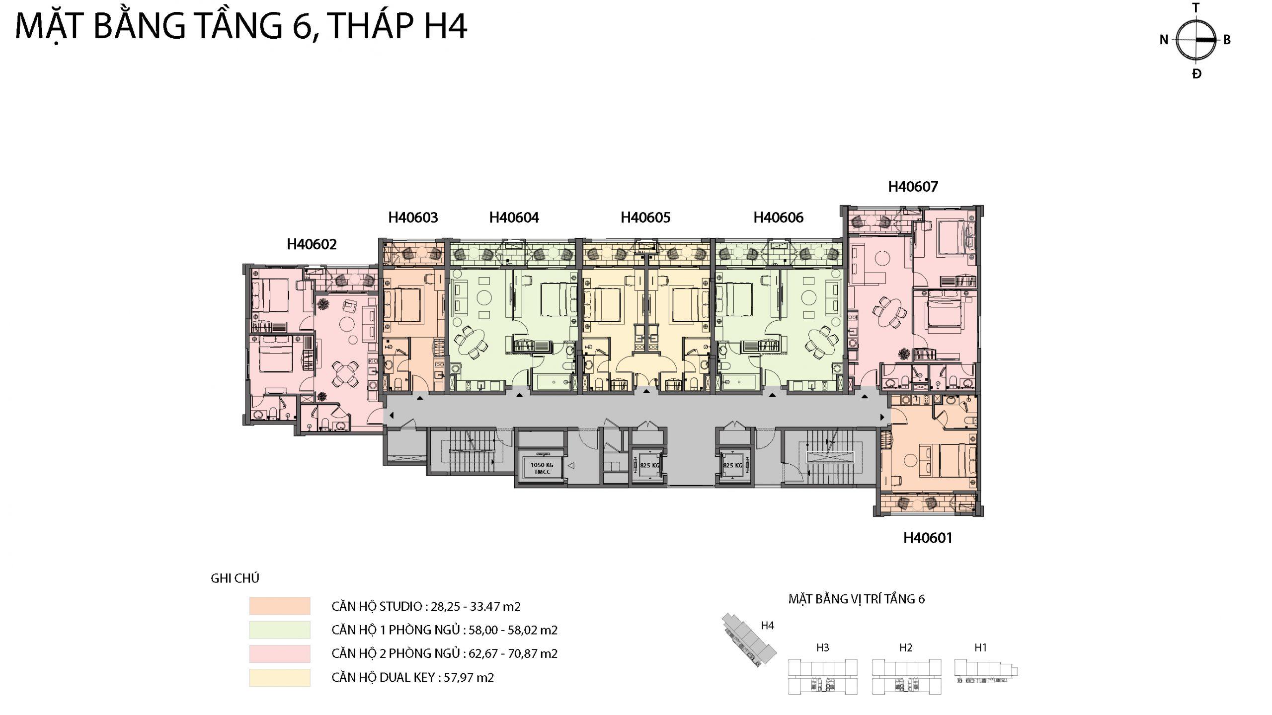Mặt bằng chi tiết tòa căn hộ H4 - Sun Grand City Hillside Residence 4