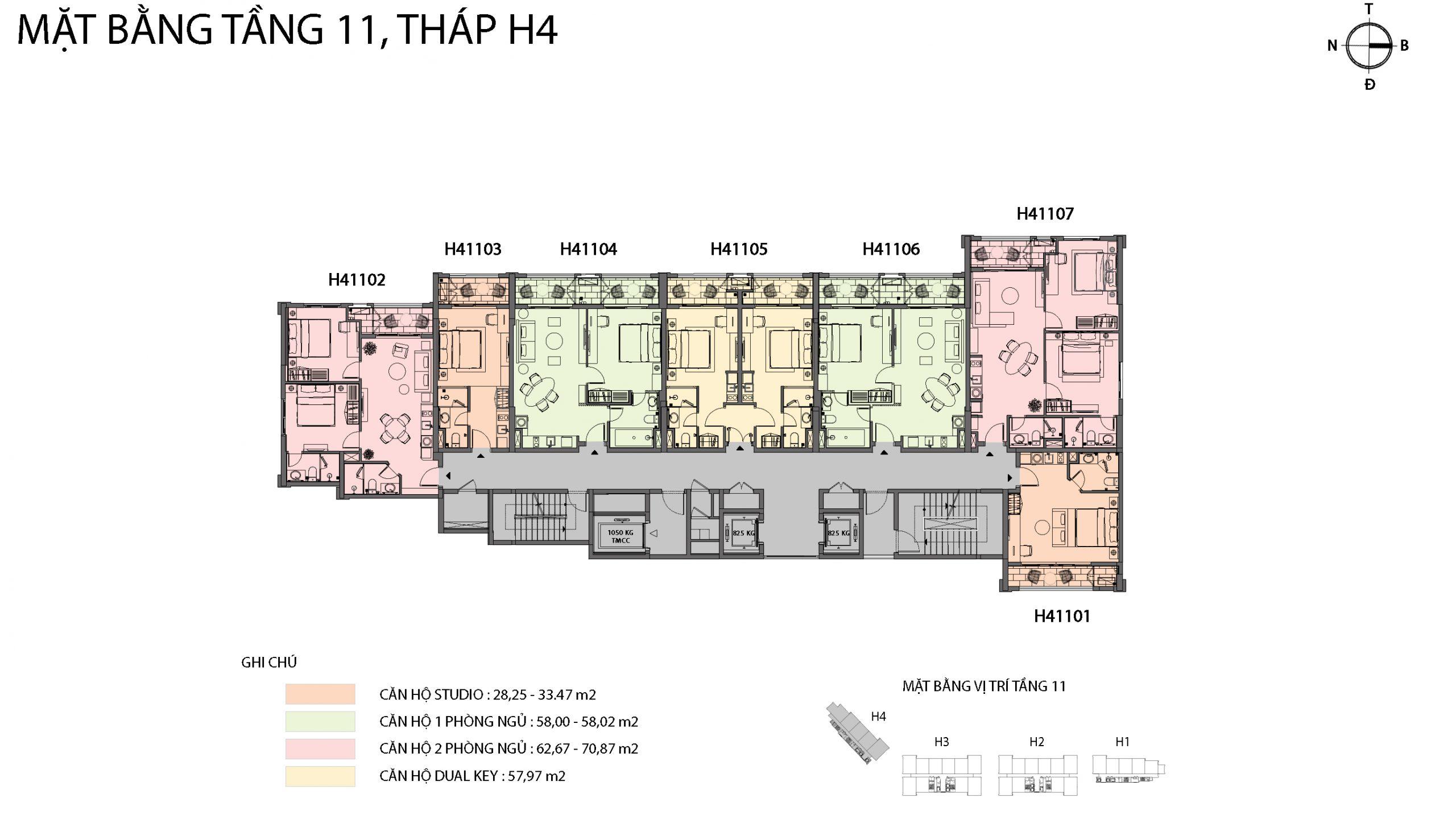 Mặt bằng chi tiết tòa căn hộ H4 - Sun Grand City Hillside Residence 9