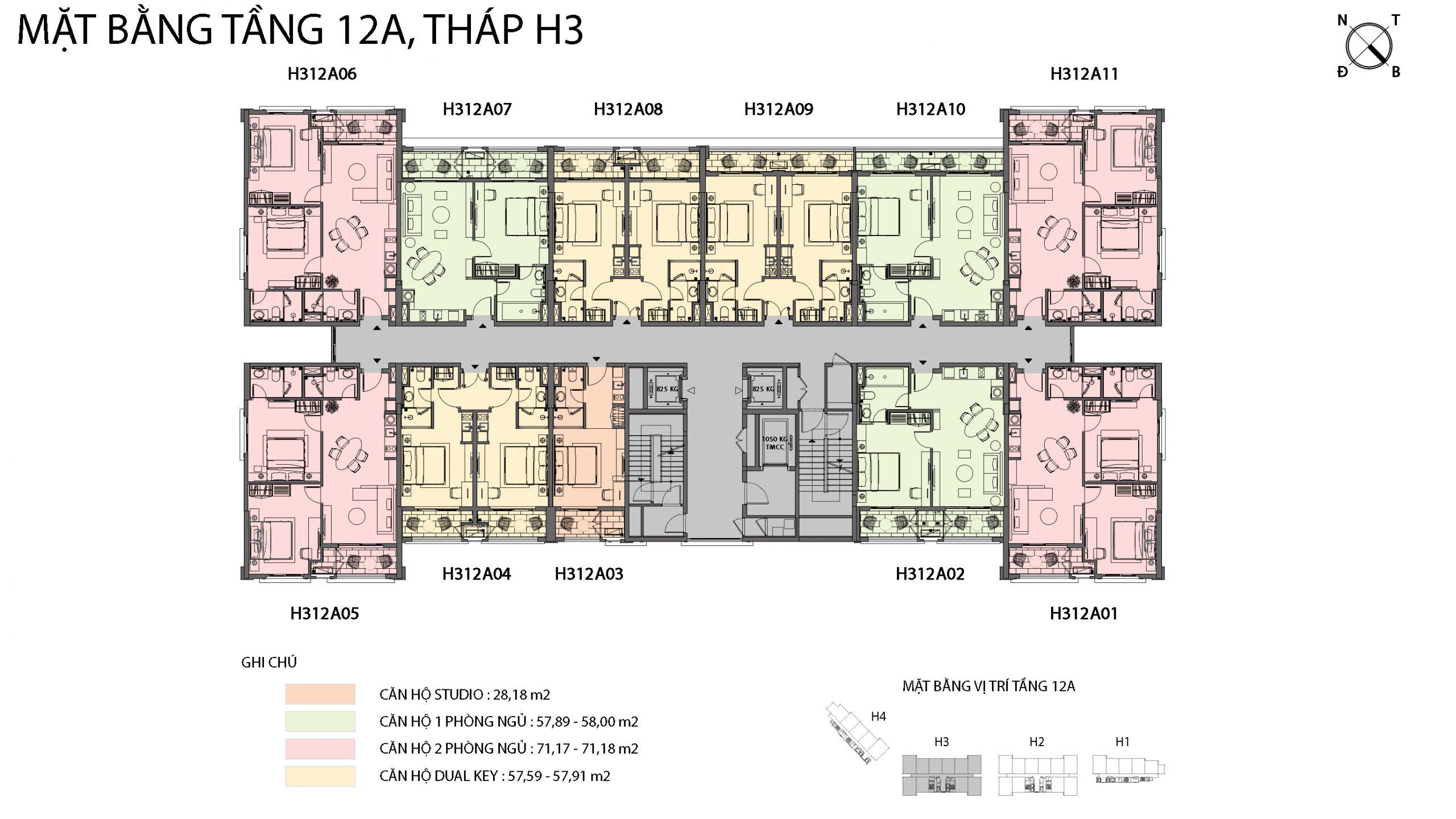 Mặt bằng chi tiết tòa căn hộ H3 - Sun Grand City Hillside Residence 11