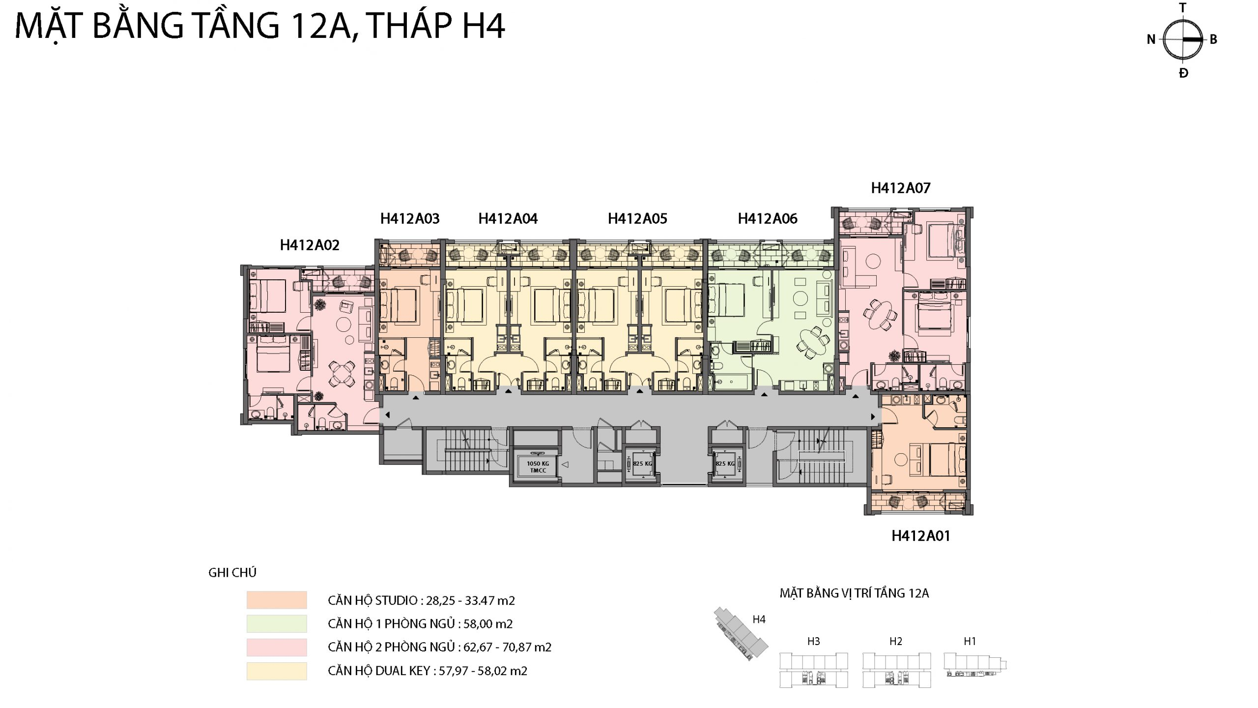 Mặt bằng chi tiết tòa căn hộ H4 - Sun Grand City Hillside Residence 11