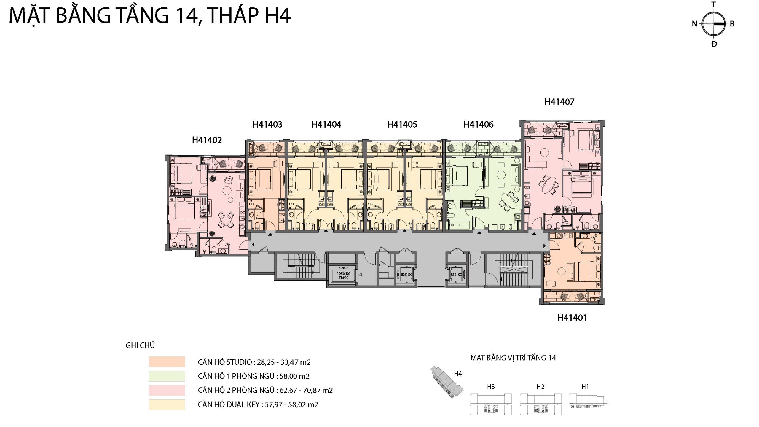Mặt bằng chi tiết tòa căn hộ H4 - Sun Grand City Hillside Residence 12