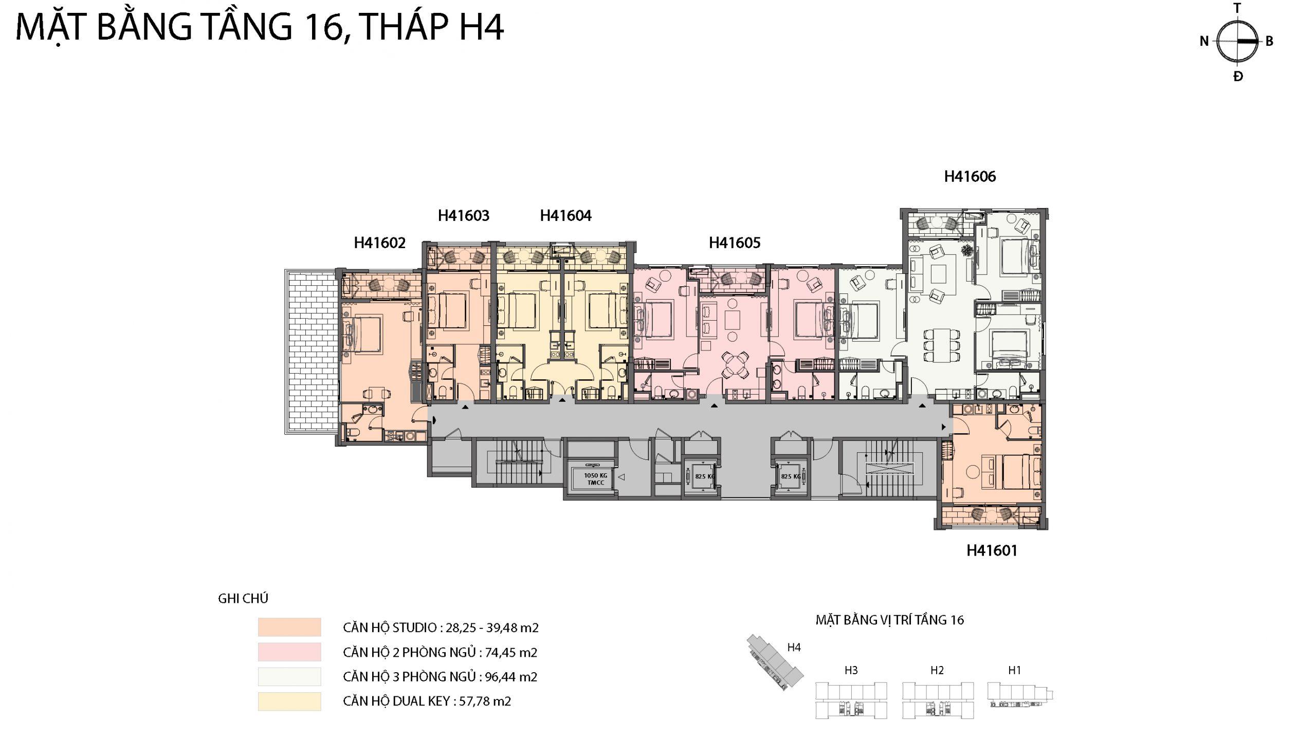 Mặt bằng chi tiết tòa căn hộ H4 - Sun Grand City Hillside Residence 14