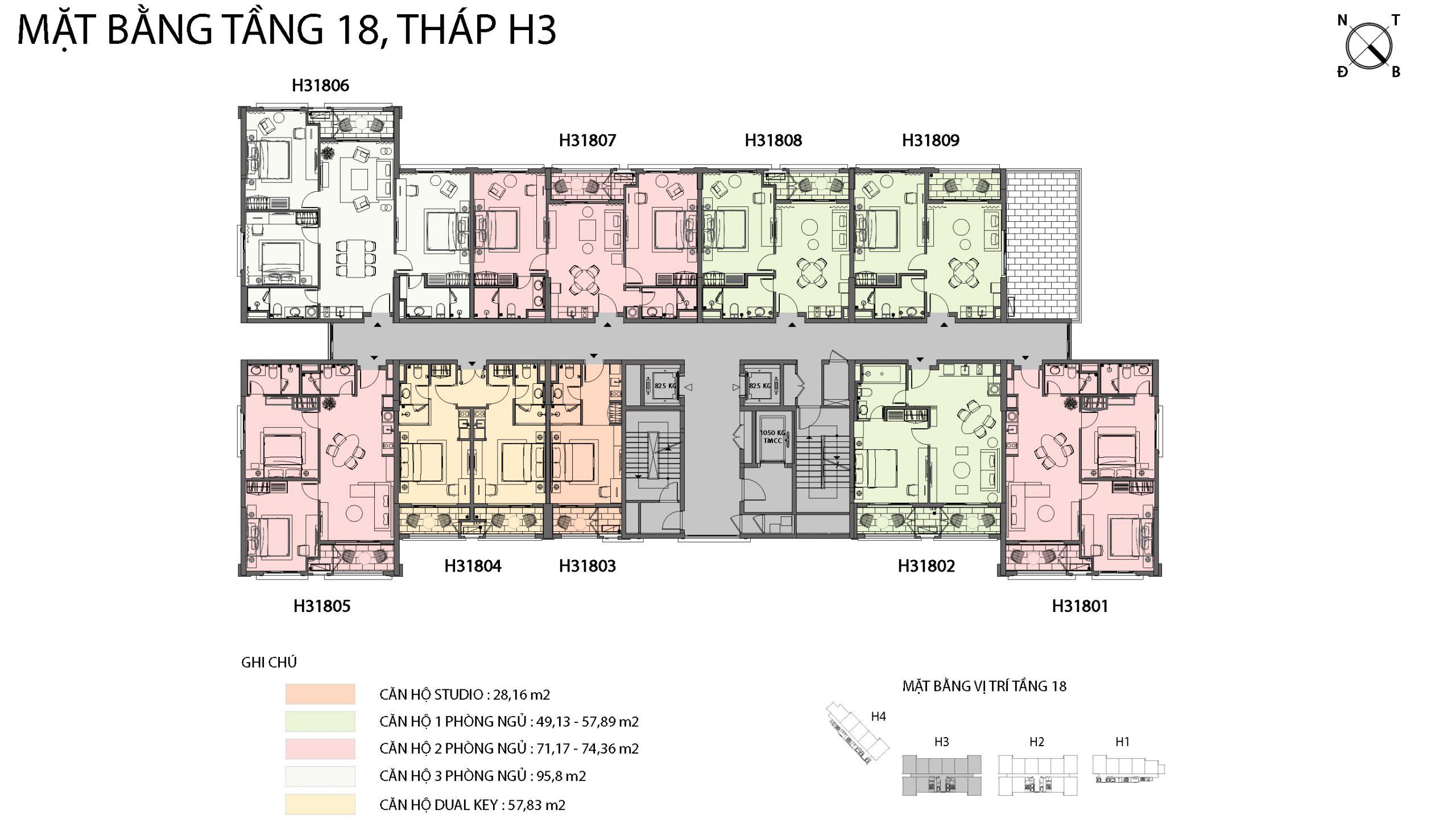 Mặt bằng chi tiết tòa căn hộ H3 - Sun Grand City Hillside Residence 16