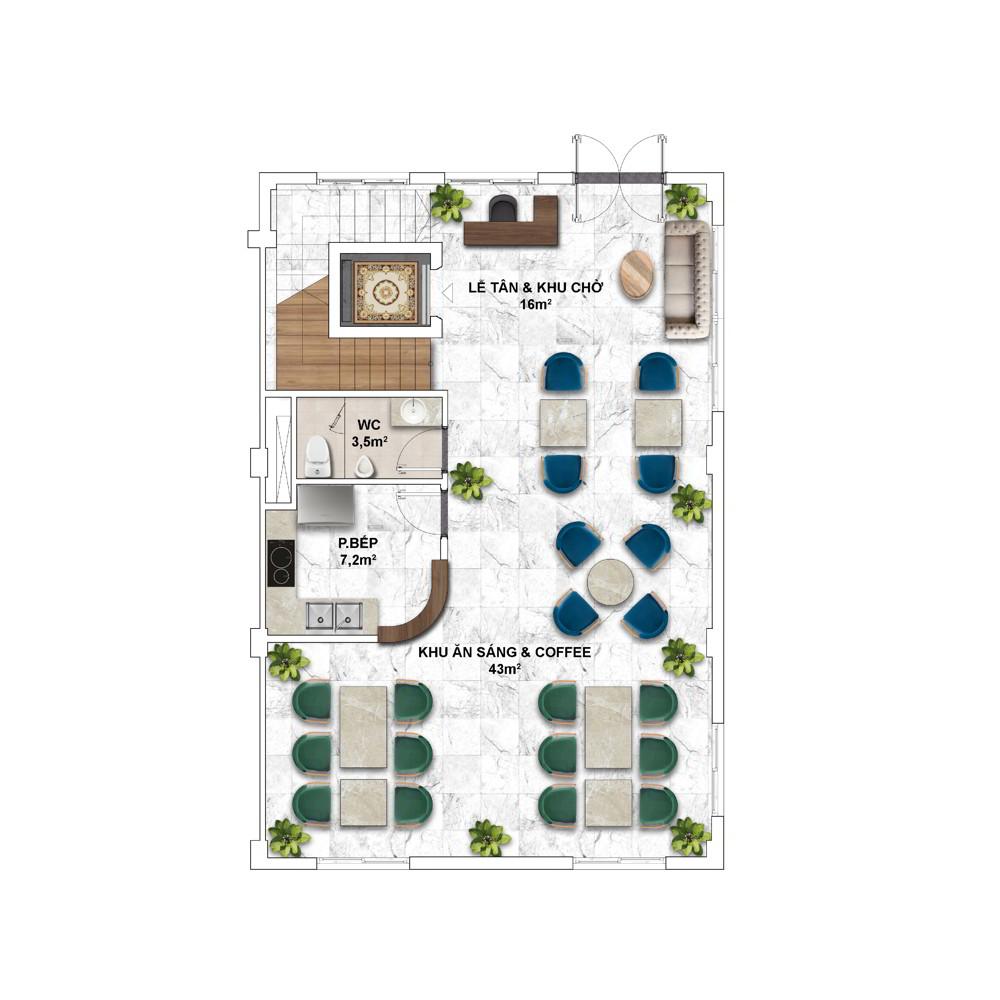 Layout điển hình Shophouse mẫu của Shophouse The Center Hillside 1