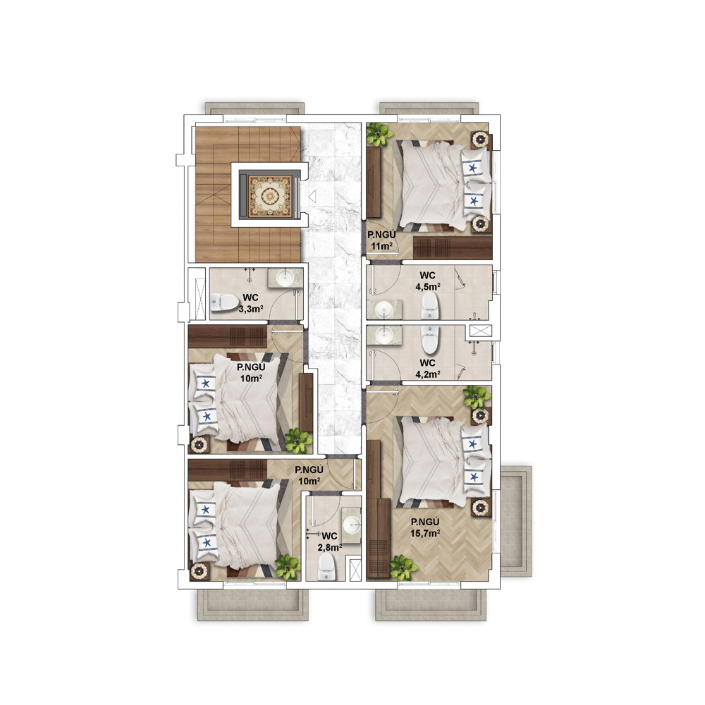 Layout điển hình Shophouse mẫu của Shophouse The Center Hillside 2