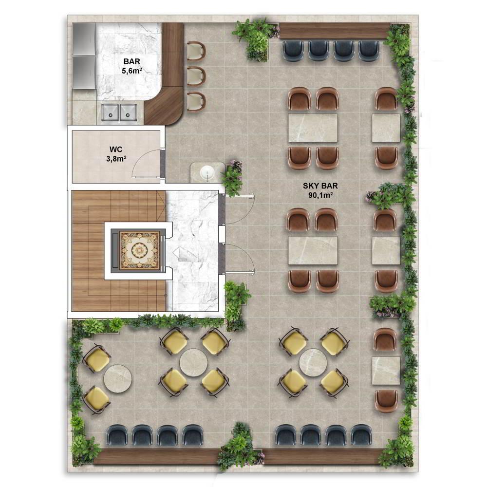 Layout điển hình Shophouse mẫu của Shophouse The Center Hillside 7