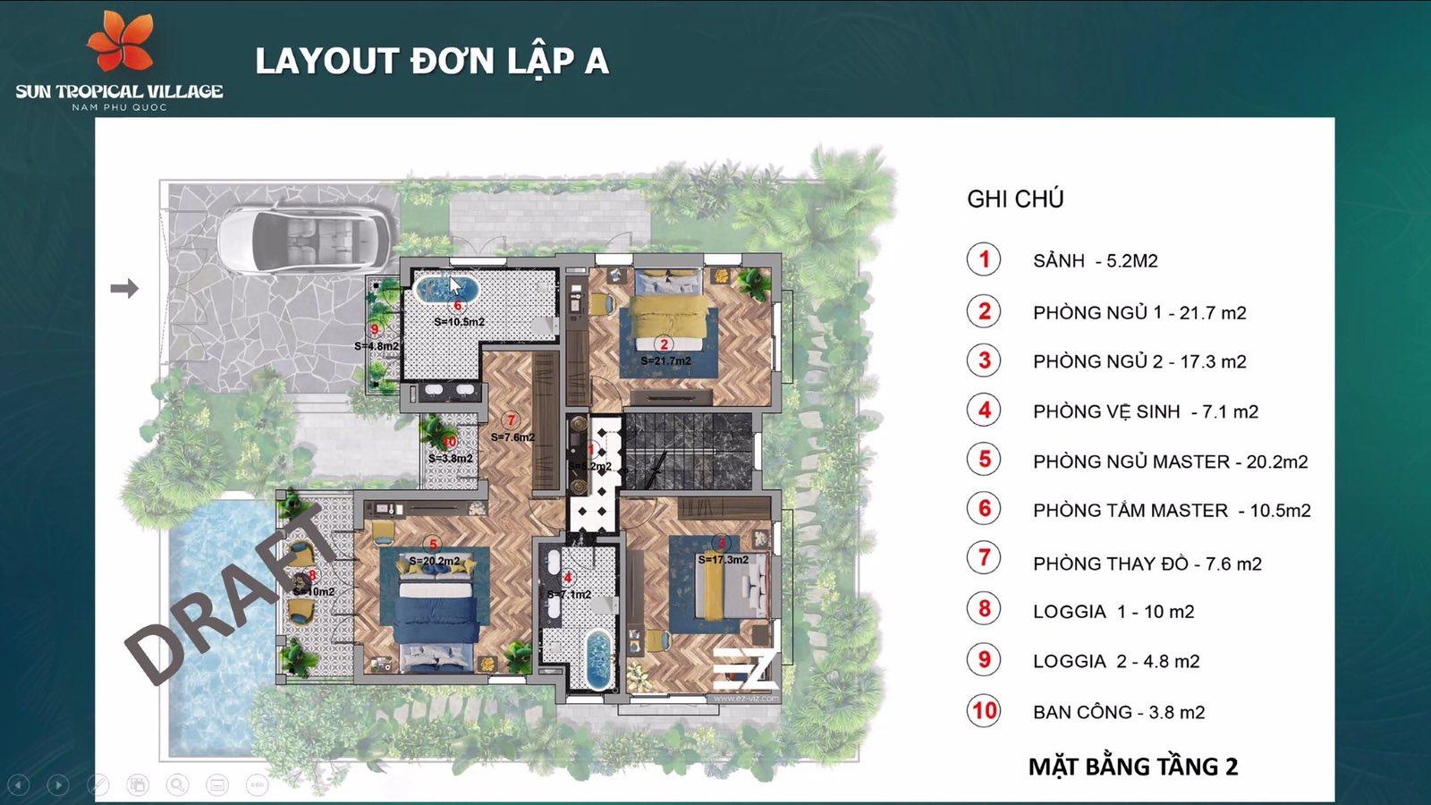Layout biệt thự mẫu Sun Tropical Village Phú Quốc 3