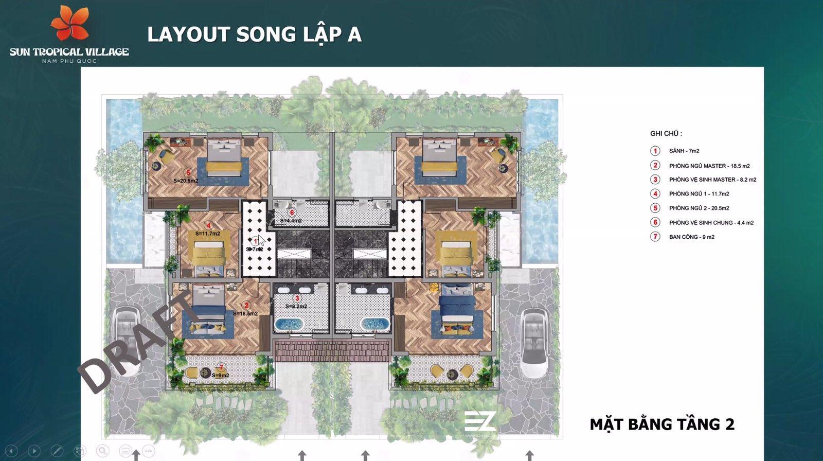 Layout biệt thự mẫu Sun Tropical Village Phú Quốc 8
