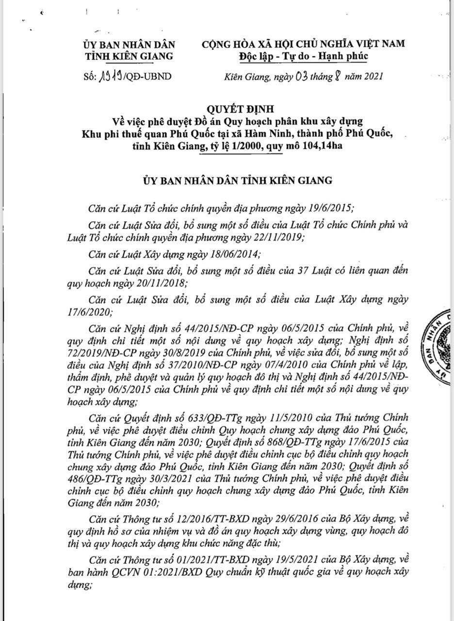 quyết định phê duyệt khu phi thuế quan Phú Quốc 1